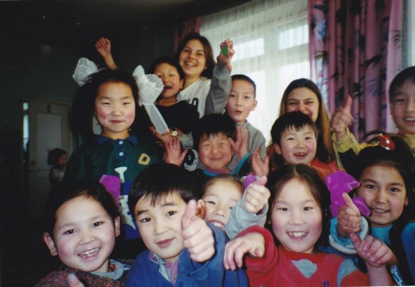 Mongolia children in house